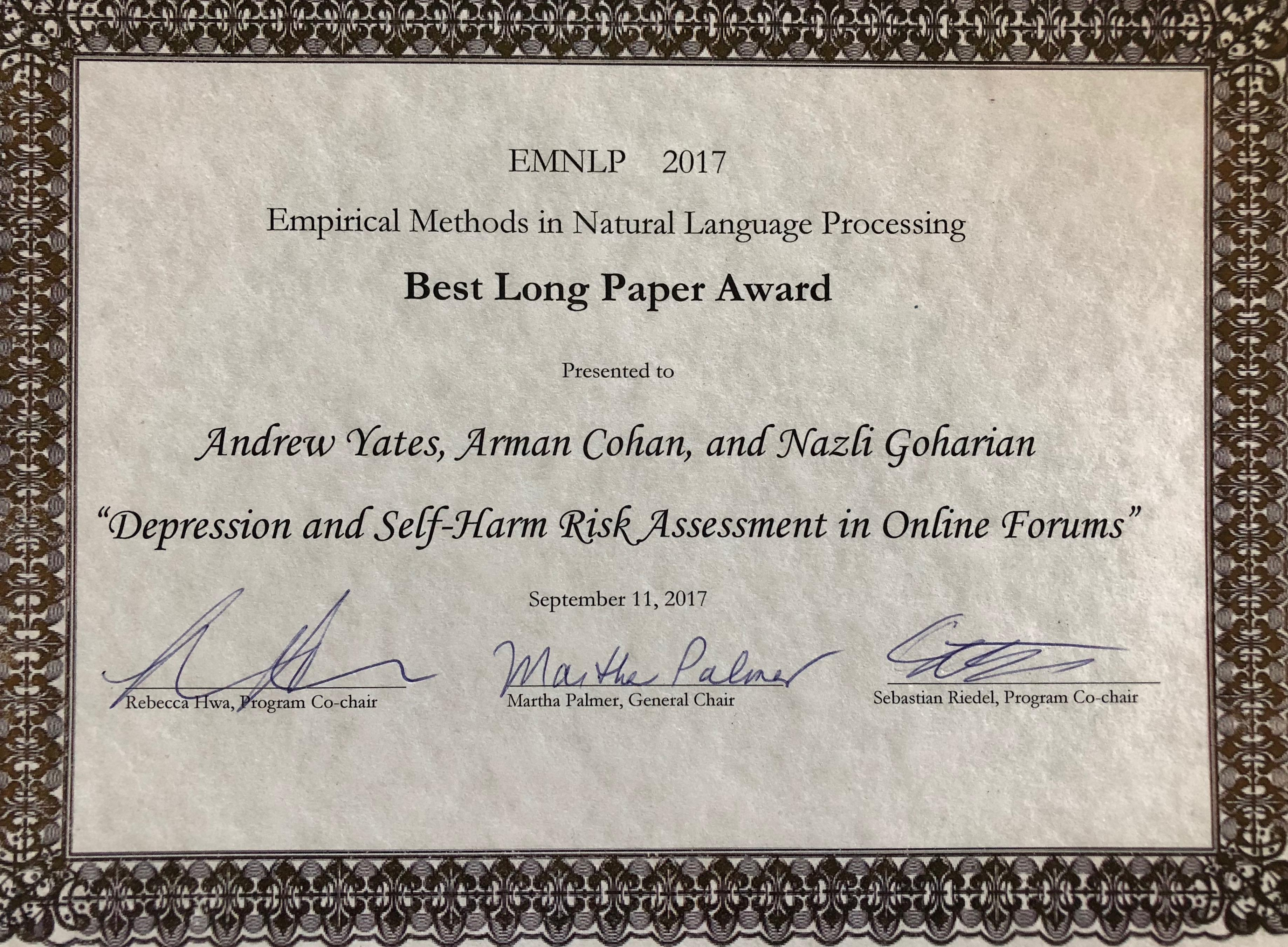 Best Long Paper Award